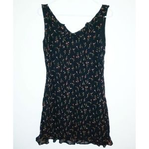 David Warren Vintage Dress Black Floral Ruffle 4P